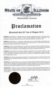 Illinois Governor Proclamation for Rural Partners image of document